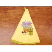 Paño de cocina redondo - Modelo BOTELLA DE ACEITE - Amarillo