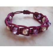 Valentínsky shamballa náramok v krásnej fialovej farbe