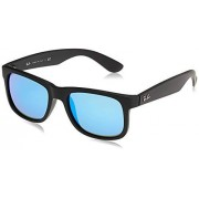 Ray-Ban RB4165 Justin anteojos de sol rectangulares (goma, 51 mm), color negro