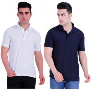 Stars Collection Men's Cotton Polo T- Shirt Comfortable and Stylish T-Shirts with Half Sleeves white and Dark Blue