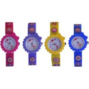 VITREND(R-TM)New Attractive Birthday Gift Combo Flower Style Analog Watches(Pack of 4)for Girls(Sent as Available Color)