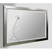 Leaded Flower 36X24 Mirror Brushed Pewter Frame