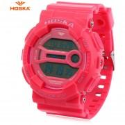 HOSKA H015B Digital Niños Del Reloj Del Deporte 3ATM Cronómetro Alarma Fecha Día Reloj LED (Rosado)
