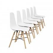 [en.casa]® Елегантен стол Honolulu комплект от 6 броя, дървени крака 85.5 x 46 cm Бял