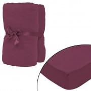 vidaXL Чаршафи с ластик, 2 бр, памук 160г/мм, 120x200-130x200см, бордо