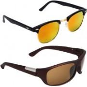 Royalmede Clubmaster, Wrap-around Sunglasses(Multicolor, Brown)