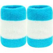 Neska Moda Unisex Pack Of 2 Blue And White Striped Cotton Wrist Band