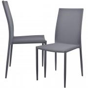 [en.casa]® Стол за трапезария Riga - комплект от 2 броя стола - 90 x 42.5 см Светлосив