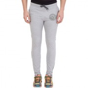 Cliths Men's Grey Melange Cotton Zeep Printed Jogger