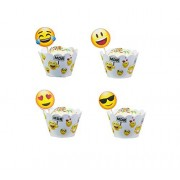 Emoji Party Cupcake Topper Emoji Cupcake topper Happy Birthday Party - Set of 12 Pack For Congratulation Decoration Anniversary Festival Graduation Bouquet Gift Idea bridal Engagement Parties Celebration Baby Shower Wedding