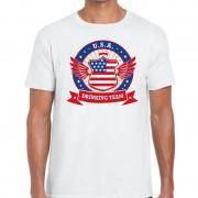 Bellatio Decorations Wit USA drinking team t-shirt heren