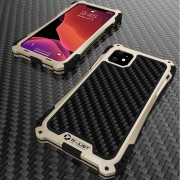 R-JUST ShocKproof Carbon Fiber Texture Silicone + Metal Hybrid Case for iPhone 11 6.1 inch (2019) - Black/Gold