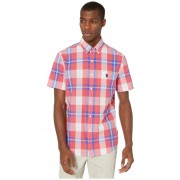 US POLO ASSN Short Sleeve Large Plaid Woven Sharp Pink