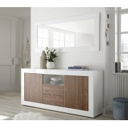 Basika Bahut 2 portes 2 tiroirs Ferrara blanc brillant/noyer Basika Blanc brillant/noyer