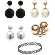 Chrishan Gold Plated Marvelous Fashionable Stud Earring And Choker Necklace Combo Set For Women.