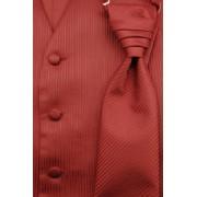 Svatební vesta s kravatou a kapesníčkem bordó strukturovaná Avantgard 552-35-50