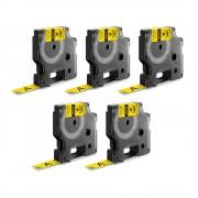 Etichete industriale autocolante DYMO ID1 vinil 12mm x 5.5m negru galben x 5 buc 18432