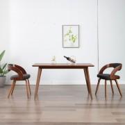 vidaXL Трапезни столове, 2 бр, тъмносиви, извито дърво и текстил