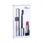 Christian Dior Diorshow Iconic Overcurl tonalità 090 Over Black confezione regalo mascara 10 ml + rossetto Mini Rouge 999 1,5 g donna