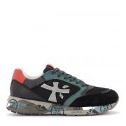 Premiata Sneaker Premiata Zac in pelle nera e verde con dettagli rossi