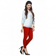 LUX Lyra Cotton Stretchable Full length Churidar Lycra Leggings for women - Red