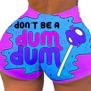 Loiseery Pantalones cortos sexys para mujer, cintura alta, color brillante, estampado de tonto/picante, casual, yoga, correr, ejercicio, atletismo, pantalones cortos, A-púrpura, S
