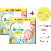 Pampers Premium Protection Luiers - Maat 1 - 2 tot 5kg - 144 Stuks - Maandbox met Zwitsal Zachte Creme