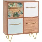 Home Styling Collection Dřevěná skříňka na drobnosti TROPICAL LEAF DESIGN - se 4 zásuvkami