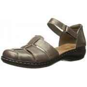 Clarks Women s Leisa Wave Fisherman Sandal Pewter Metallic 9.5 2A(N) US