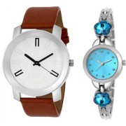 MACRON W-229 Couple Watch Combo Watch White Dial Brown Belt With Sky Blue Silver Watch 229