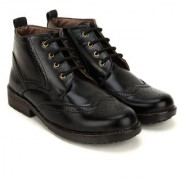 Crown Sapphire High Ankle Oxford Formal Boots For Men (Black 6 UK)
