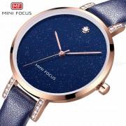 MINI FOCUS Luxury Women Watches Waterproof Quartz Dress Wristwatches With Leather Strap MF0159L
