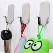 ROYALDEALSHOP Best Quality Stainless Steel 100 Adhesive Wall Hooks 3 PCS for Room Kitchen Bathroom Clothes etc.