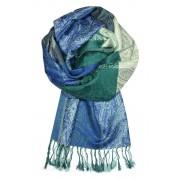 Damaskus Blue - elegantní šála pašmína LZ11 modrá
