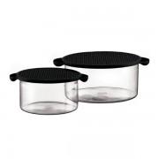 Bodum HOTPOT SET Set: 2 fuentes de horno con tapa de silicona, 1.0 l & 2.5 l Negro