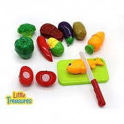 Little Treasures Kitchen Kids Play Cutting Fruits and Vegies Fish and Meat Toy Set Pretend Food Playset Fruit Pieces to be Sliced Up with Knife and Cutting Board Multicolored 12 Piece