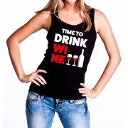 Bellatio Decorations Time to drink Wine tekst tanktop / mouwloos shirt zwart dames