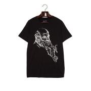 【57%OFF】BEARD CLIMBERS プリント クルーネック 半袖Tシャツ ブラック m ファッション > メンズウエア~~その他トップス