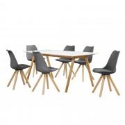 [en.casa] Set de comedor mesa bambú / blanca 180x80 + 6 sillas grises tapizadas piel sintética