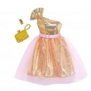 Set Barbie Hainute si Accesorii, geanta galbena si bratara