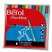 Berol Felt Tips - 12 Berol Colourfine felt tip pens in 12 colours. Washable ink.