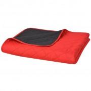 vidaXL vidaXLi kahepoolne tepitud voodikate punane ja must 170 x 210 cm