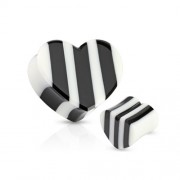 19 mm Double-flared plug zwart/wit hart