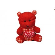 Soft Toy Teddy Bear Anti Allergic Stuffed With Soft Plush best For Your Loved Ones ( 27 cm x 18 cm). This Can Be The Best Gift To Your Love & special Ones (Blut Orange Teddy with Red Heart) By Noor