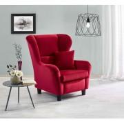 Lifestyle4Living Sessel, Ohrensessel mit Zierkissen in rotem Samt bezogen, Füße schwarz, Maße : B/H/T ca. 90/98/76 cm