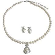 Designer Sophisticated Bridal Ivory Pendant Necklace Earrings Set