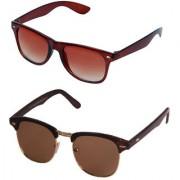 Magjons Brown Wayfarer Clubmaster Sunglasses Combo Of 2 With Box