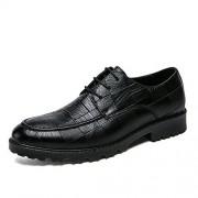 ZUAN Zapatos Oxfords de tacón Plano con Cordones for Hombre Zapatos cómodos y Elegantes (Color : Negro, tamaño : 28)