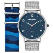 Kit Relógio Mormaii Troca pulseiras On The Road Prata Masculino MO1L32AB/T1A