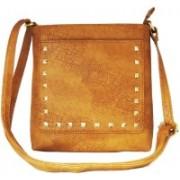 AANIA HAUTE Women Casual Tan Leatherette, Cotton Sling Bag